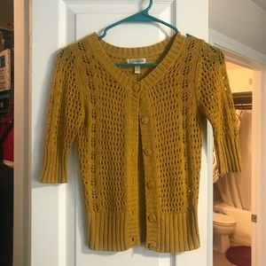 Crocheted Yellow Cardigan